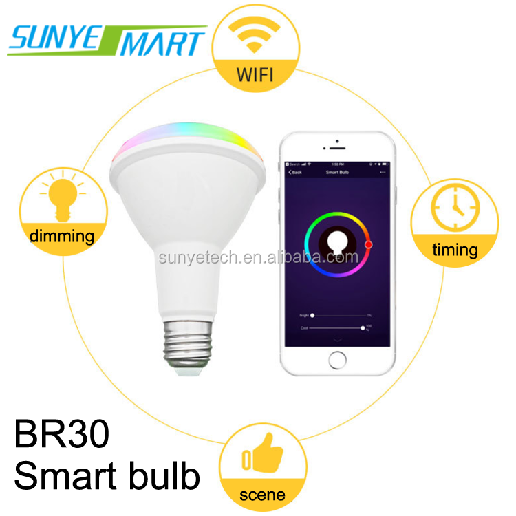 Smart wifi kleur lampen E27 Wit LED Lamp Wifi Remote Control12W LED Lamp Werken met google alexa en Amazon thuis