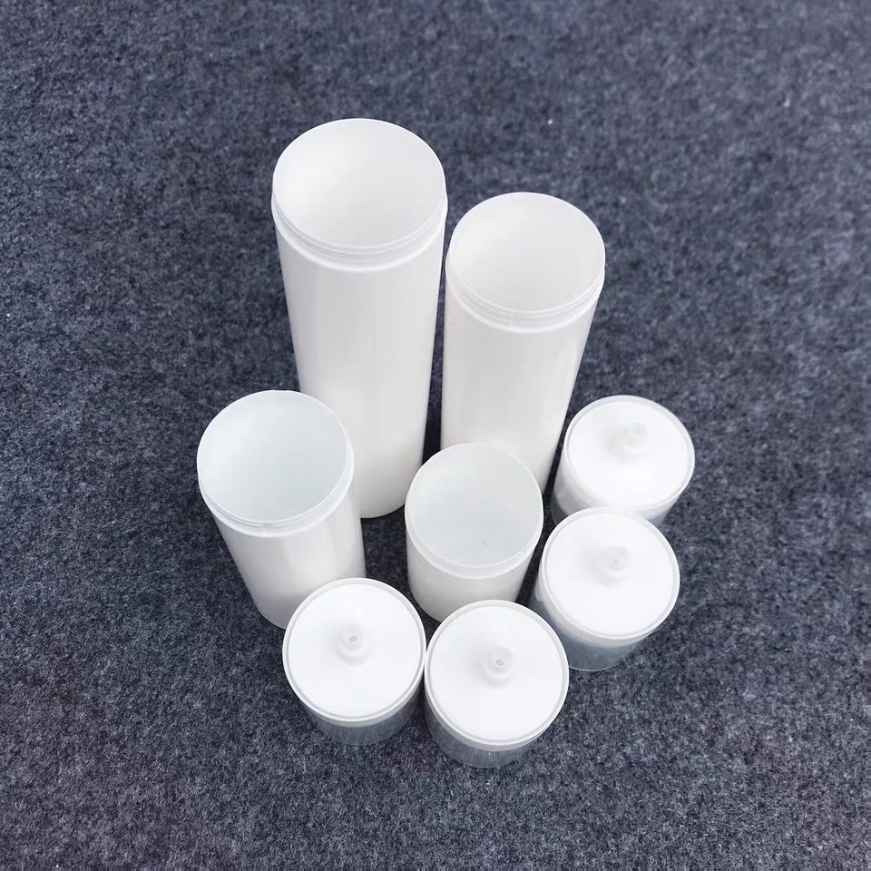 30ml 50ml 75ml 100ml white plastic container/airless bottle/cosmetic airless pump bottle with clear cap