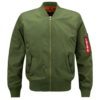 OEM Custom Autumn Embroidered Army Green Flight Bomber Jacket For Men