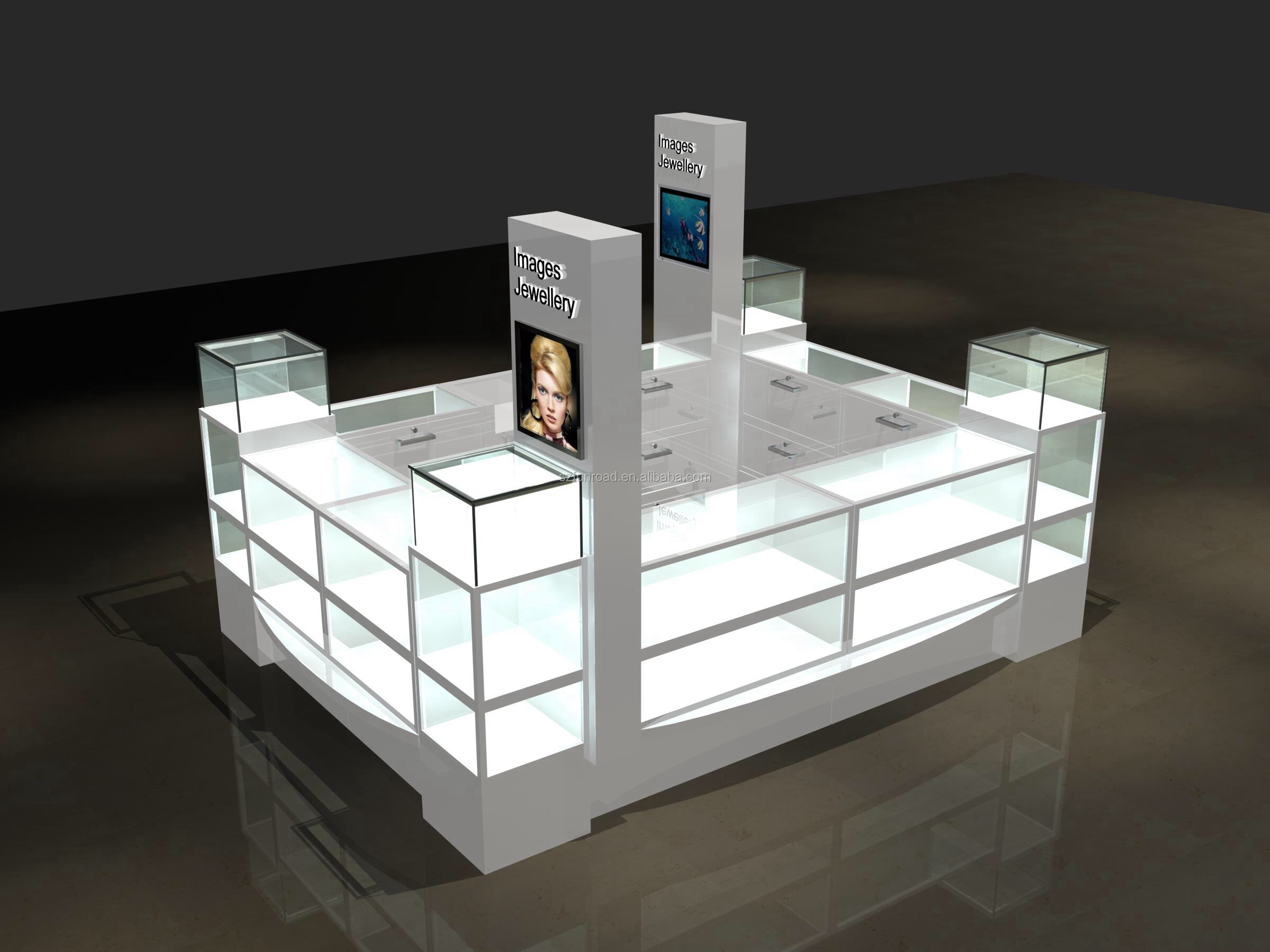 Best quality Glass Jewelry mall kiosk / Jewelry Display Showcase for Jewelry Store