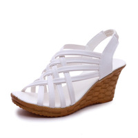 HLS069 women high heel shoes sandals white womens wedges