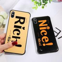 Lovebay Cute Phone Case for iPhone XR XS Max Simple Letters Rich Nice Frameless Hard PC Mobile Phone Shell Case