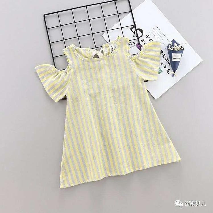 Summer Children Kids Baby Girls Dress Cotton Casual Short Sleeve Blue Striped Shoulder blouse dress