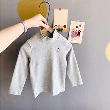 Осенне-зимние футболки из чистого хлопка с вышивкой и высоким воротником для мальчиков и девочек универсальные топы для детей от 1 до 5 лет(Китай)