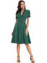 Женское формальное платье до колена, с треугольным вырезом и кнопками, с коротким рукавом, а-силуэта, цвета красного вина, сатина(Китай)