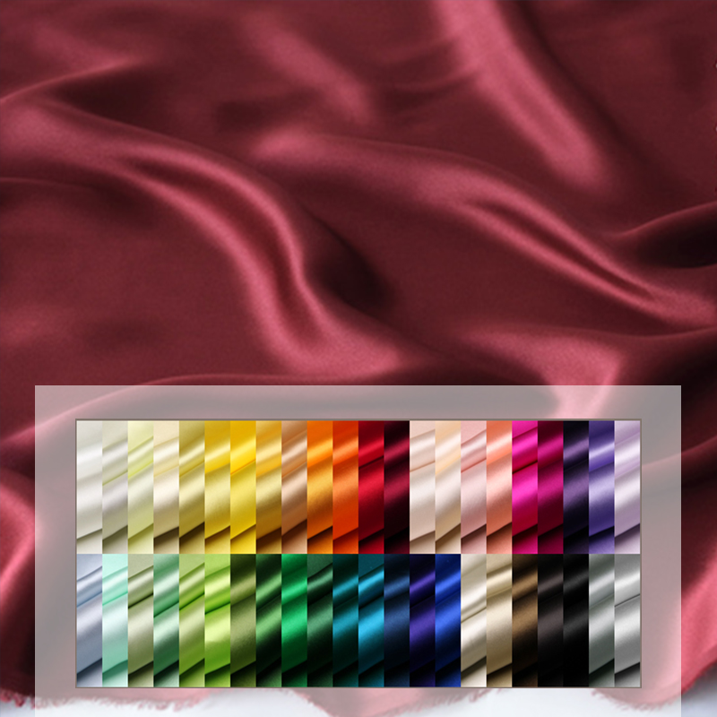 Factory custom dyed fabric silk plain luxury accept printing shiny charmeuse 100% silk fabrics for clothing