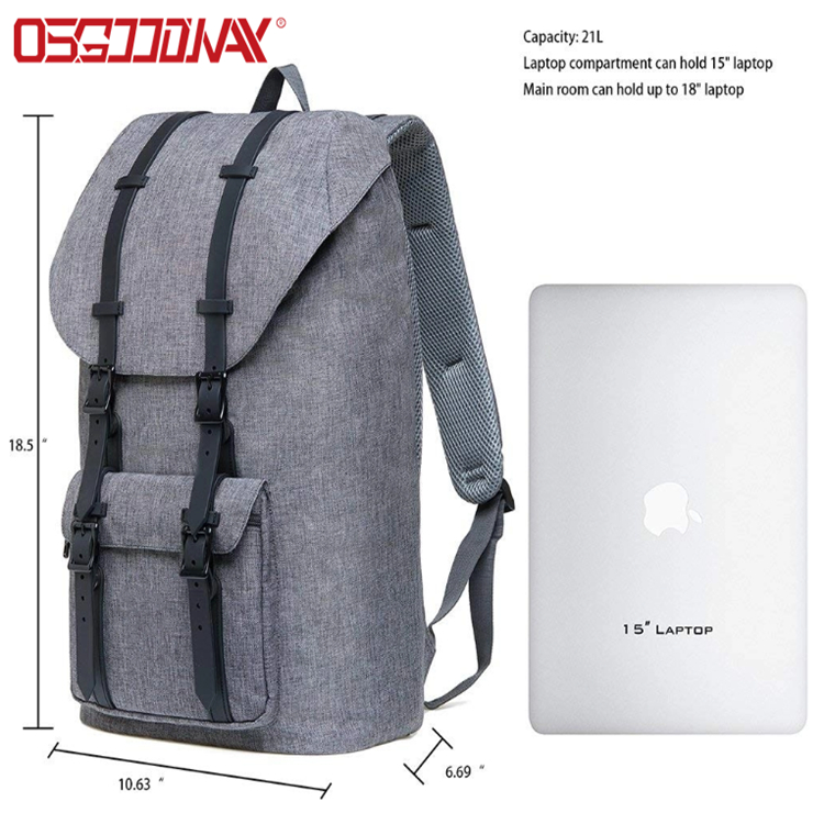 "Osgoodway Large Casual Linen Oxford Fabric Travel Hiking Outdoor Backpack Fits 15"" Laptop Tablets"