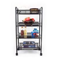 3 4 5 tiers utility mobile white office kitchen serving vegetable storage organizer Trolley cart with basket lock wheel