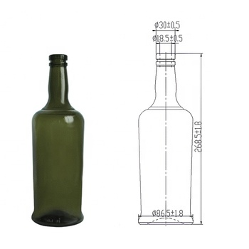 750ml dark green empty red port wine style glass wine bottles