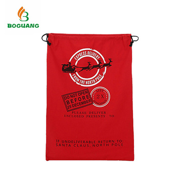 Custom Size Red Cotton Promotional Christmas Santa Sack For Christmas Present