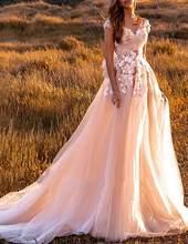 Удивительное свадебное платье цвета шампанского с кружевной аппликацией и открытой спиной, Милое Свадебное платье принцессы, платье невес...(Китай)