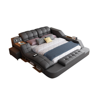 Modern leather Fabric Bed with Storage Box multimedia speaker USB charger Bedroom Furniture set
