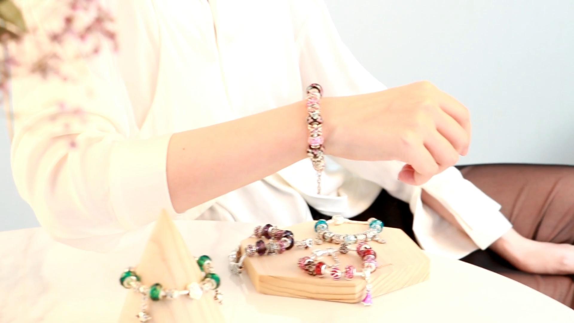925 Sterling Silver Charm Bead Women Jewelry Making DIY Zircon Enamel Beads Bracelet Bangle