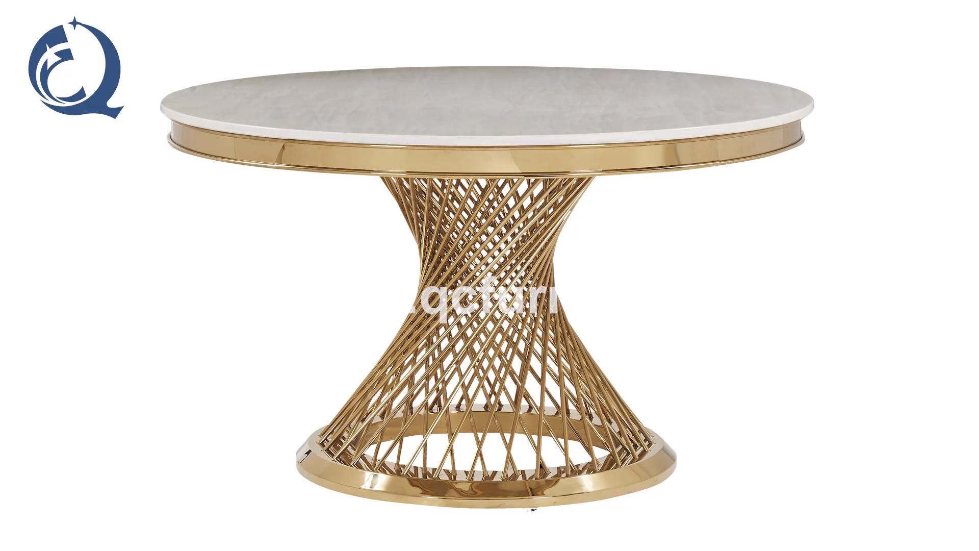 Royal Mewah Mewah Stainless Steel Emas Meja Makan Bulat Marmer Atas dan Kursi Desain