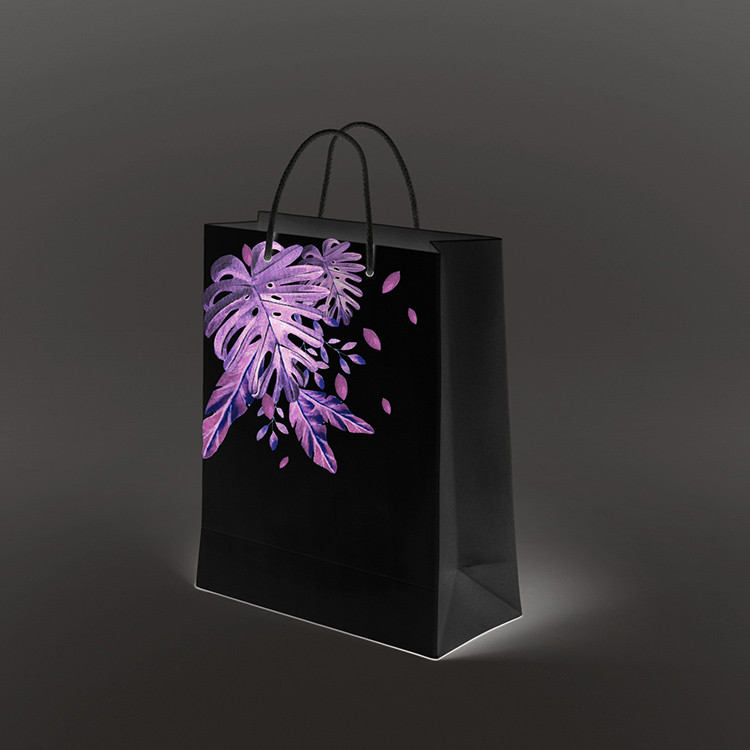 product-2020 new product dark black custom printed on glossy paper small black paper bag gift bags w