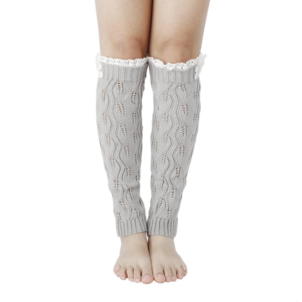 Most popular strech lace edge design elegant leg warmer