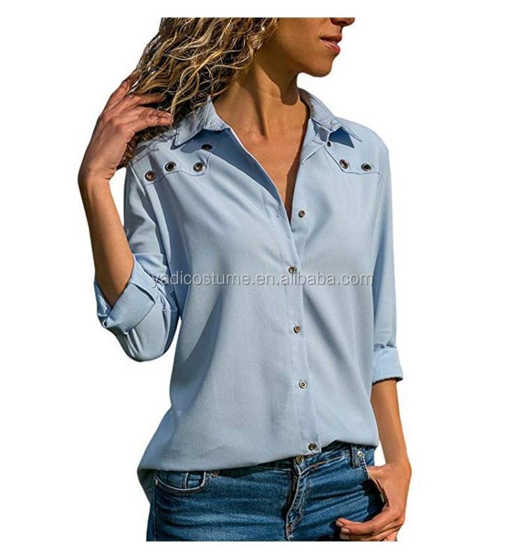 Kadın bluzlar 2020 sonbahar uzun kollu bluz moda pullu bayanlar ofis gömlek katı Turn Down yaka düğme Tops Blusas Mujer