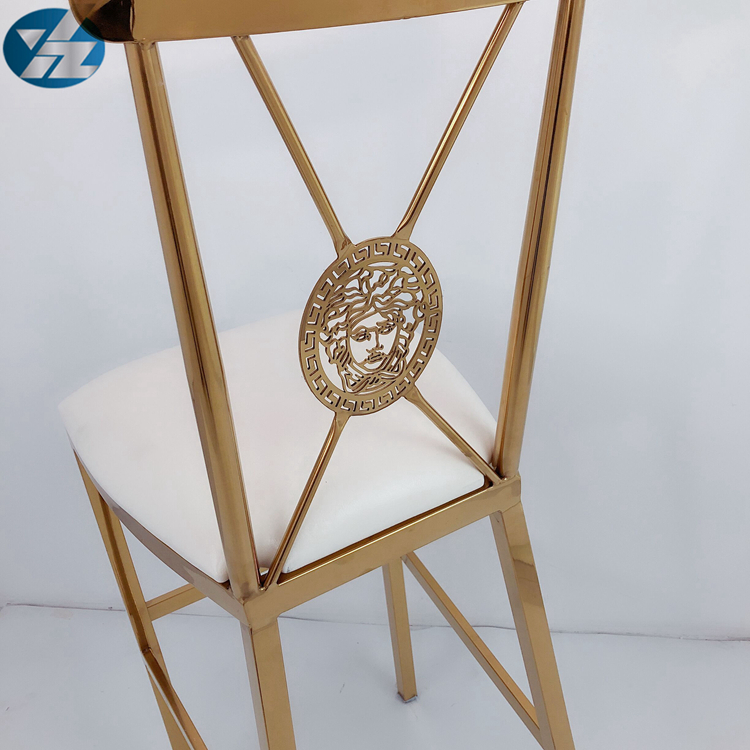 luxury gold stainless steel cocktail round back bar stool