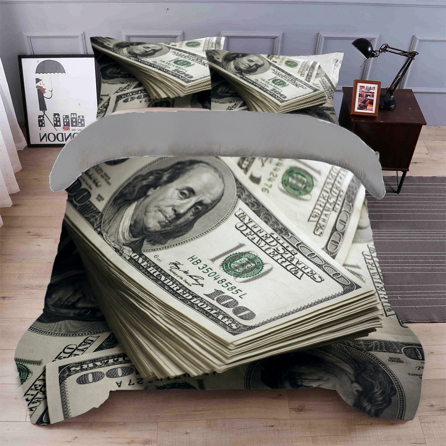 BABSON Personalized simple gray dollar digital printing quilt cover printing bed sheet pillow cover customized Bedding Set
