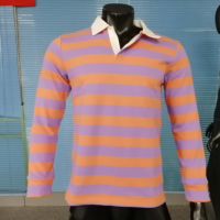 Yellow and black striped long sleeve rugby jersey polo shirt