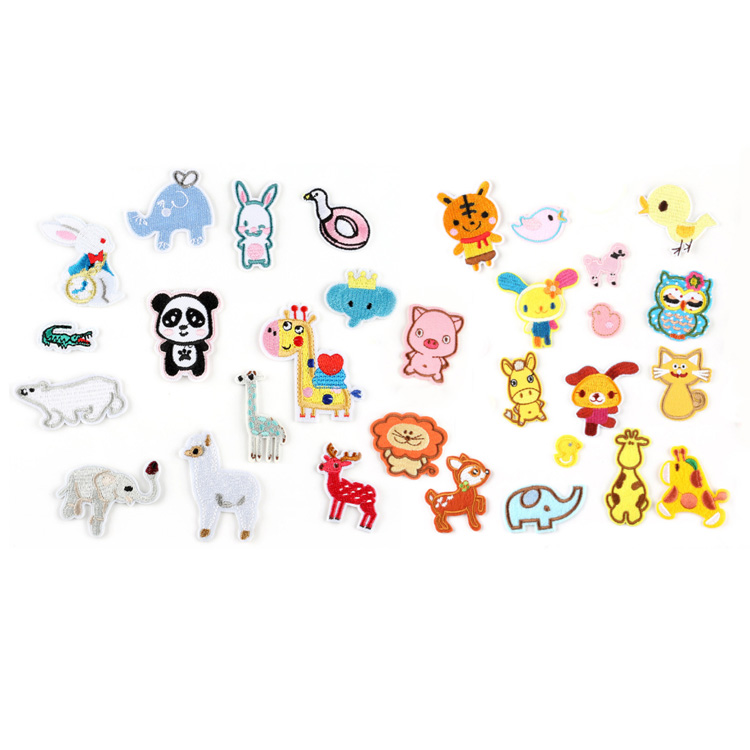 hot sale cartoon small iron on embroidery animal patch for children clothes