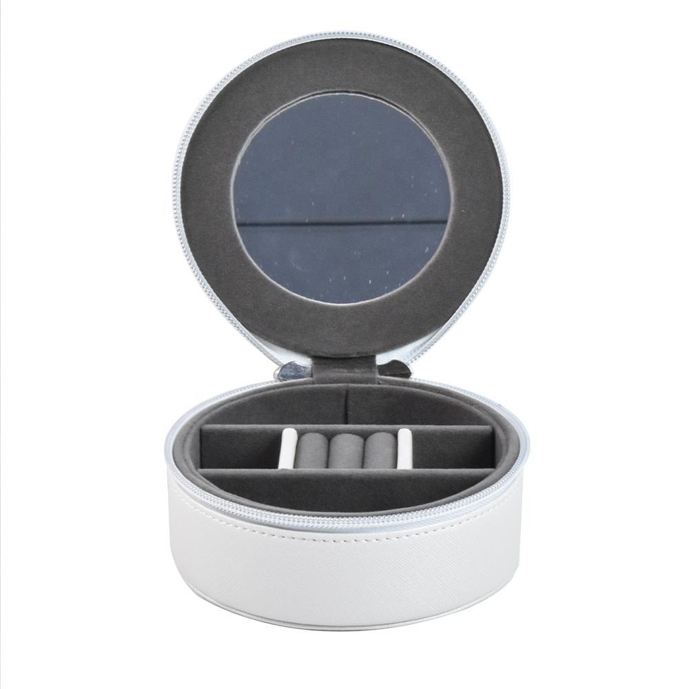 Small Round PU Leather Customized Travel Jewelry Box
