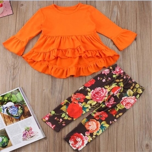 fall orange dot Girls Ruffles Halloween Outfits Turkey Printed Girls Clothing Sets