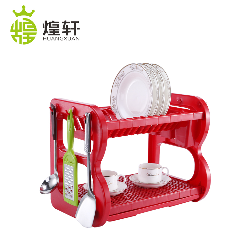 2 Tier Colorful Plastic Dish Drying Rack Kitchen Dish Drainer Storage Dish Shelf With Drain Rack