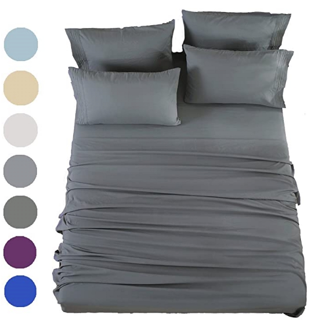 Brushed Microfiber 1800 Bedding sheets set - Wrinkle, Fade, Stain Resistant - Hypoallergenic - 4 Piece (Queen,grey)