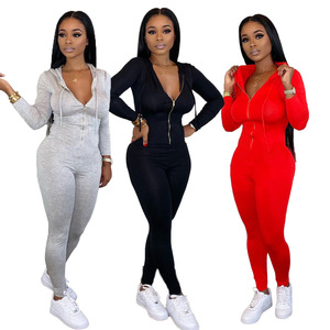Long Sleeve Long Pants Women Jumpsuits New Fashion Sexy Bodycon Jumpsuit Plain Colors Rompers with Hooded