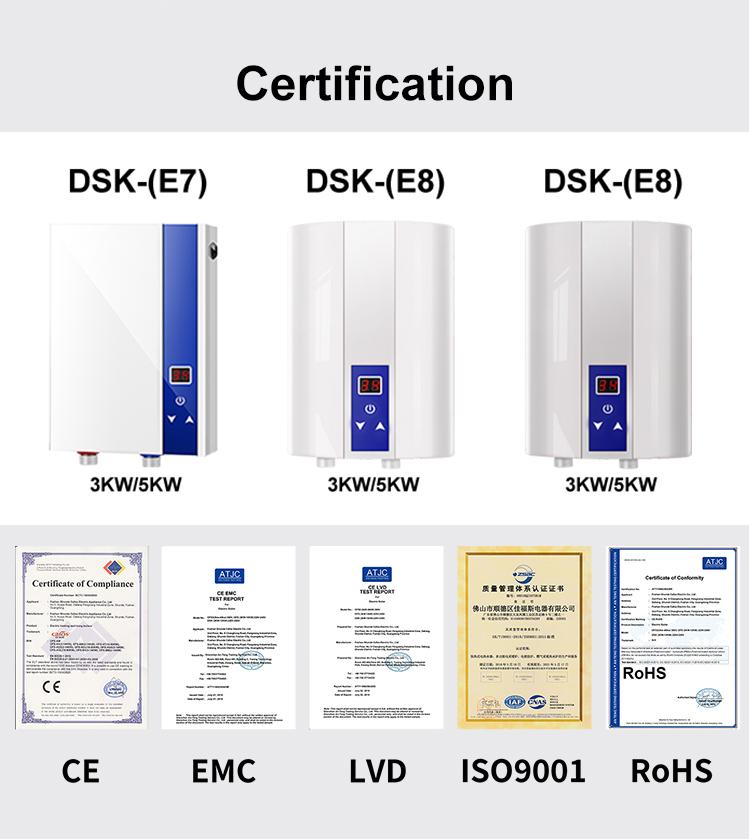 3KW-WH-DSK-E (E8)-5 के लिए घर उपकरण स्टेनलेस स्टील Tankless बिजली पानी हीटर बाथरूम