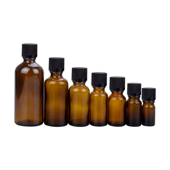 Skin care packaging 30ml 50ml 100ml amber essential oil glass bottle with screw cap