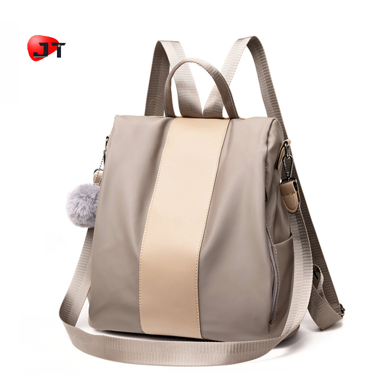 Anti Theft Backpack 2019 Female Korean Version Large Capacity Nylon And PU Leather Shopping Casual Backpack College Bag Girls