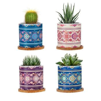 Mandalas Succulent Cactus Flower Plant Pot with Bamboo Tray and Ceramic Pot