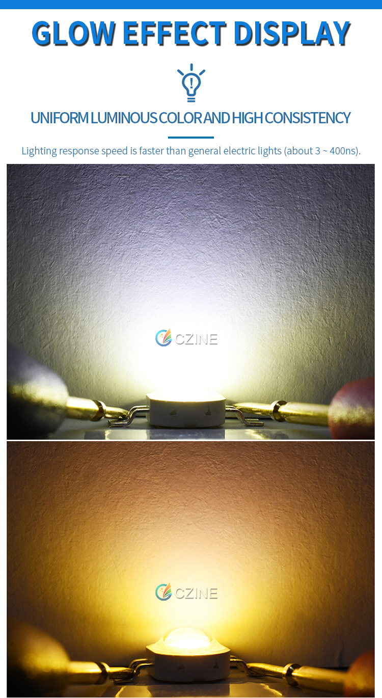100pcs/Bag Czinelight Wholesale 1W 3W 350mA 700mA 45mil White And Warm White Bicolor 2in1 4pin High Power Led