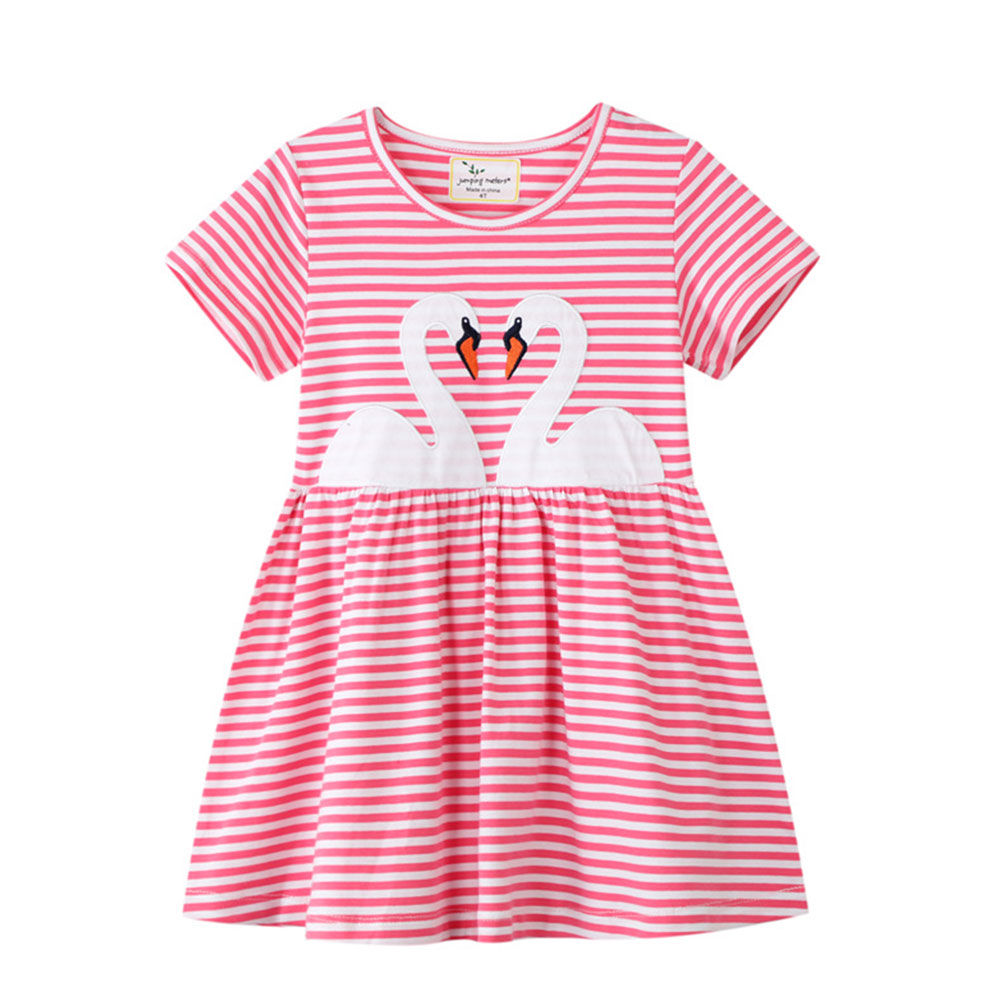 Summer O Neck Short Sleeve Embroidery Swan Girl Stripe Dress for 2 3 4 5 6 7 Years <strong>Baby</strong> Kids Girl