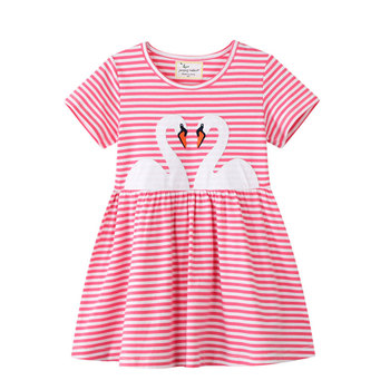 Summer O Neck Short Sleeve Embroidery Swan Girl Stripe Dress for 2 3 4 5 6 7 Years Baby Kids Girl