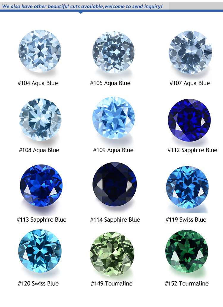 Factory Price 1.0~3.0mm #113 Blue Synthetic Gems Stone Round Machine Cut Synthetic Spinel Stone for Jewelry