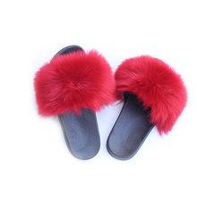 Зимние пушистые шлепанцы для женщин; Пушистые плюшевые тапочки; Меховые шлепанцы; Женские пушистые тапочки; Модные Вьетнамки; zapatos de mujer(Китай)