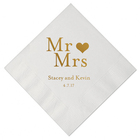 Personalized Wedding Cocktail Napkins with Bride and Grooms Names 100pcs Custom Wedding Gold Printed paper Napkin