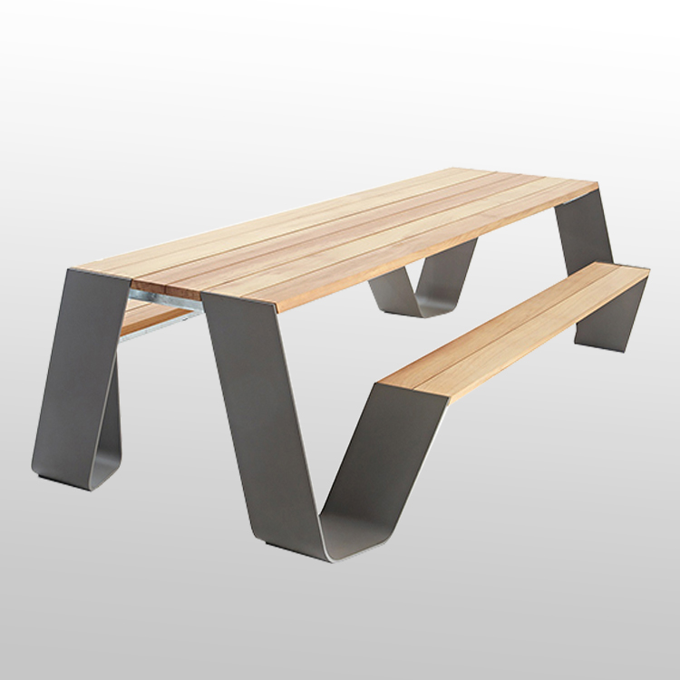 Factory Outlet Modern Design Picnic Table Wooden Rectangular Dinning Table Park Ground Fixing Picnic Table