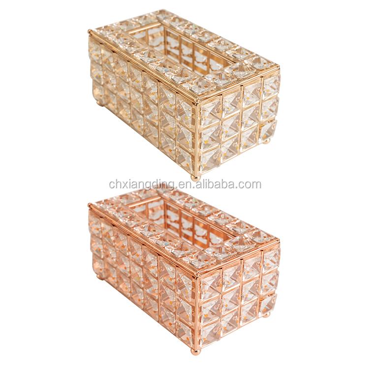 Usine Vente Chaude En Métal Décorations de Table porte-papier En Cristal Européen boîte à Mouchoirs pour Restaurant