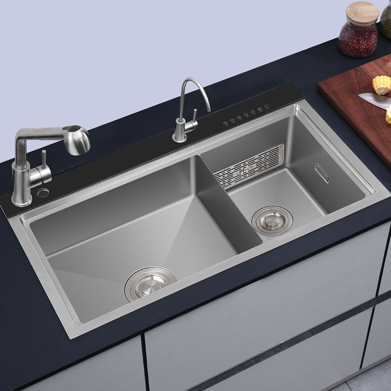 220v 100w intelligent under mount double bowl stainless steel kitchen sinks