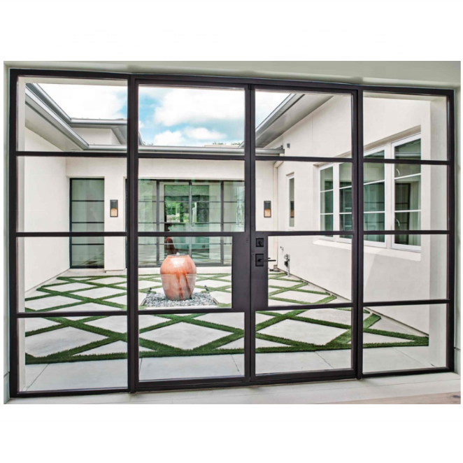Modern Iron commercial American building supply double exterior french entry decorative steel <strong>doors</strong> and windows grill design