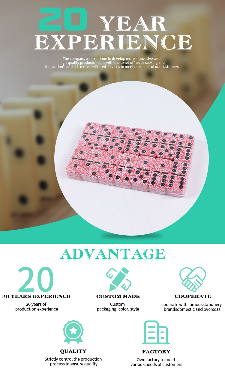 Low Cost High Quality 39*20*5.5mm Marble domino set with Plastic box
