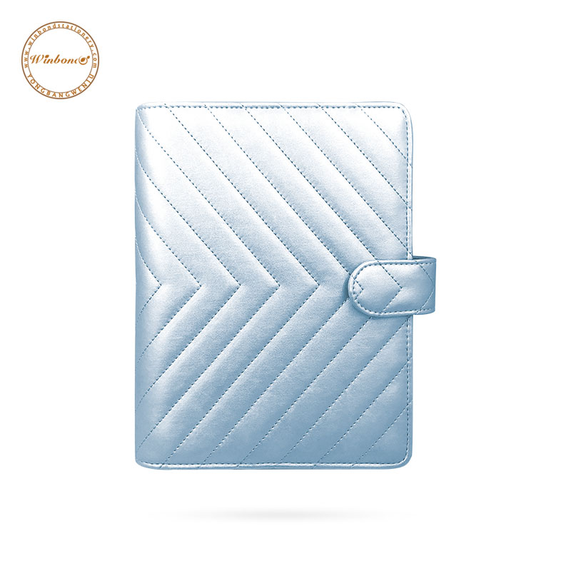 Quilted style Pu leather blue dividers inserts planner supplies