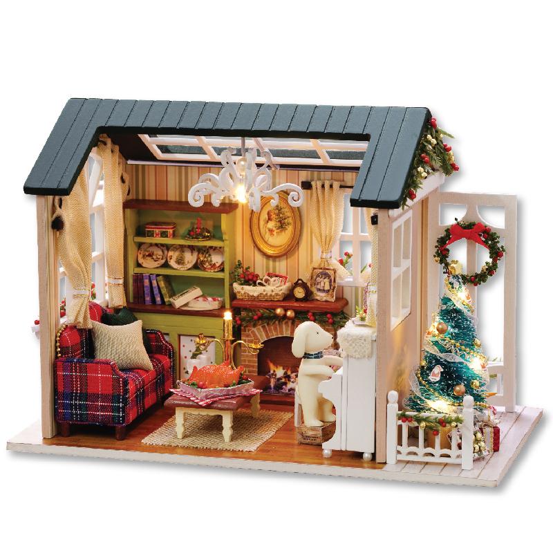 Mainan Anak-anak Rumah Boneka Mebel Merakit Kayu Miniatur Rumah Boneka Diy Rumah Boneka Puzzle Mainan Pendidikan untuk Anak-anak
