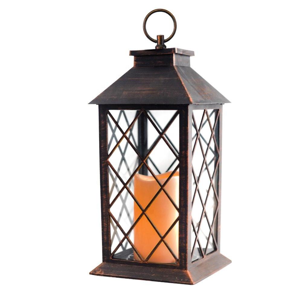 Custom Outdoor Hanging Garden Plastic LED Candle Powered Solar Lantern Garden