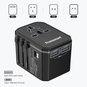 Tronsmart WCP05 33W Universal Travel Adapter with USB-C & Dual USB-A Ports for Samsung Galaxy S9,S9 Plus,iphone x