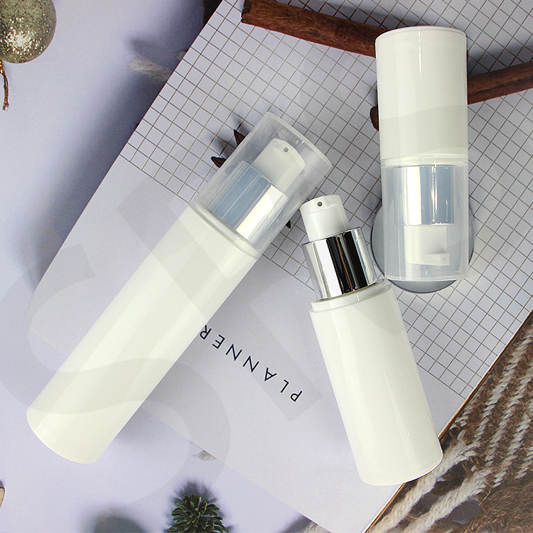 Recycled material 15ml 30ml 50ml 80ml 100ml pp airless bottle  white vacuum skin care set container